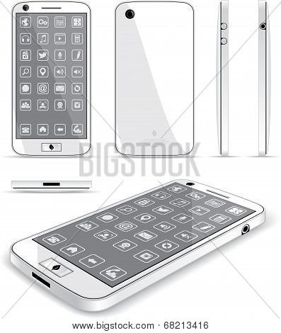 White Smart Phone 3D and Conventional Views