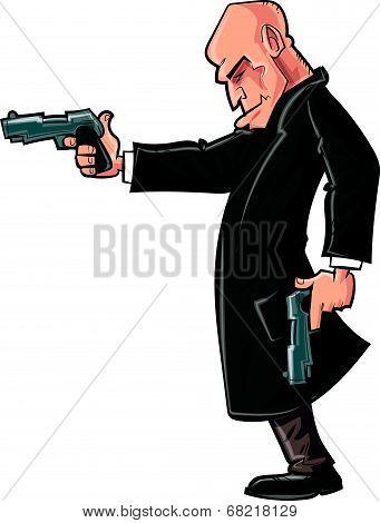 Cartoon bald gun man pointing his gun.