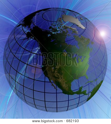 Globe Natural Color North America Focus On Swirl Background