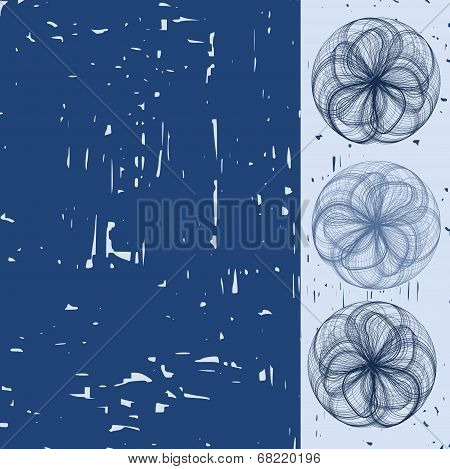 engraving style illustration with abstract blooms- illustration poster