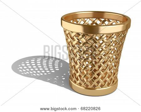Gold Wastepaper Basket Empty