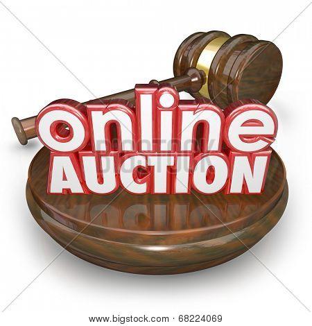Online Auction 3d words wood block gavel closing bidding internet online website marketplace