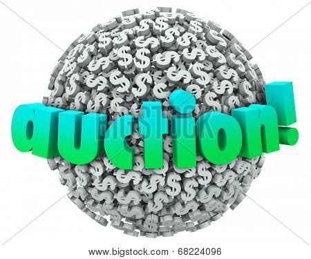 Auction word on a ball or sphere of dollar signs or symbols as a winning bidder buys