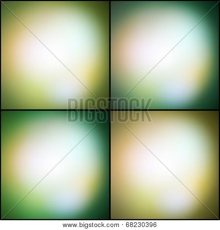Abstract set of multicolored backgrounds, defocused lights vector illustration. poster