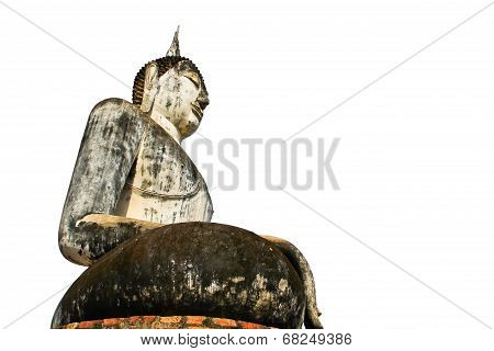 Buddha Statue At Wat Mahathat Temple In Sukhothai Historical Park With Isolated