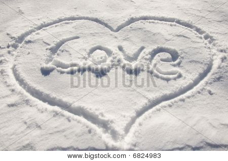 In the heart draw on the snow write word love poster