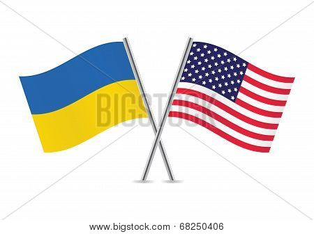 Ukrainian and American flags. Vector illustration.