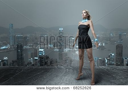 Futuristic Woman In Night City