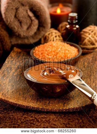 Chocolate Spa set. Spa treatment in beauty salon closeup