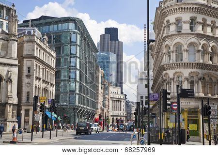 Busy city of London street