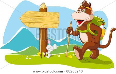 Funny cartoon monkey tourist hiking mountains, wooden signboard, copy space. Vector illustration