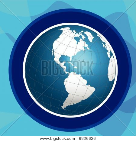 Blue globe in turn blue ring on blue background poster