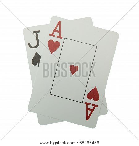 Blackjack hand isolated on white
