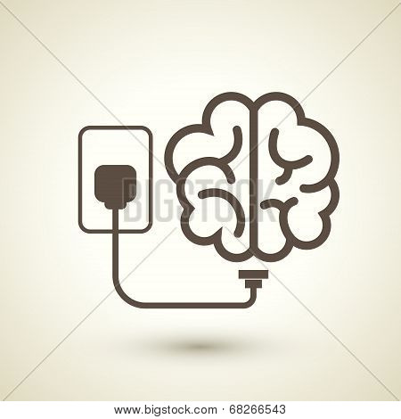 retro style brain plugged in icon isolated on beige background poster
