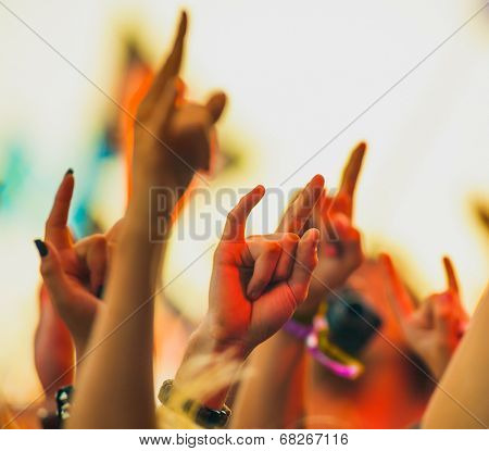 People cheering at rock festival