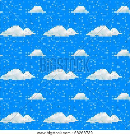 Seamless Vector Cloud Pattern Pixel Art