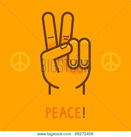 Vector Peace Sign - Hand Showing Two Fingers