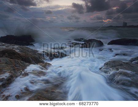 Splashing Wave With Beautiful Sunset