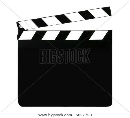 Opened movie Blank clapboard on white background poster