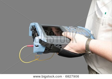 Engineer With Reflectometer