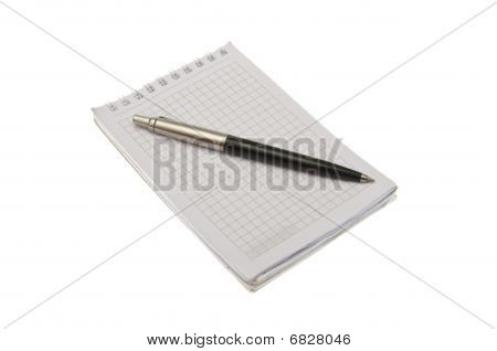 Pen On Notepad Isolated On White Background