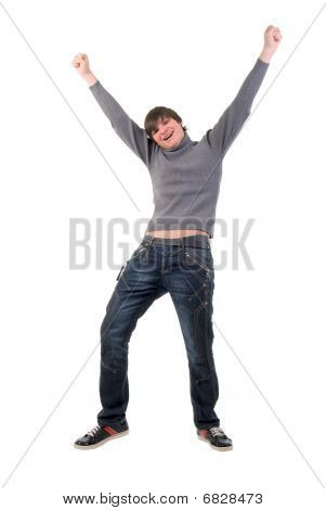 Open Arms Dancing Boy. Studio Shoot Over White Background.