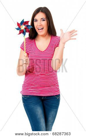 Happy girl with weathercock, isolated on white background