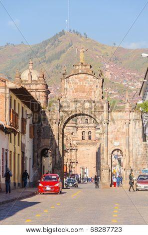 CUZCO, PERU, MAY 1, 2014 - Arco Santa Clara near Colegio Nacional de Ciencias