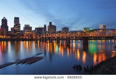 Portland Oregon at dusk.