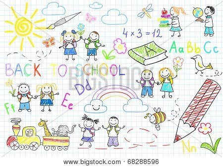 Back to school. Vector sketches with happy pupils. Sketch on notebook page