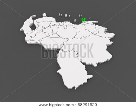Map of Nueva Esparta. Venezuela. 3d