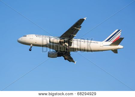 The plane of Air France airline comes in the land at the Sheremetyevo airport