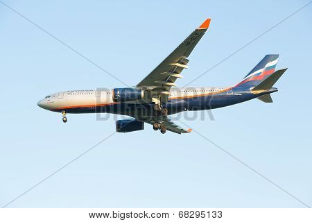 The airline Airbus-A330 plane Aeroflot comes in the land at the Sheremetyevo airport