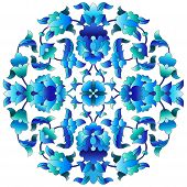 Versions of Ottoman decorative arts abstract flowers poster