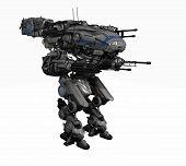 3d render of a police robot mech poster