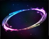 Shining neon lights cosmic vector abstract frame poster