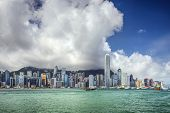 Hong Kong, China city skyline at Victoria Harbor. poster