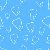 Seamless pattern with tooth - vector texture poster