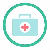 medical suitcase icon in flat style. vector illustration poster