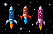 Three brightly colored vector rockets in outer space with turbo boost and flames as they speed through the dark starry sky  set of three different spaceships for kids illustrations poster