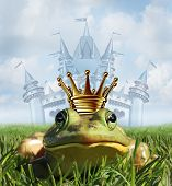 Frog prince castle concept with gold crown representing the fairy tale symbol of hope romance and change in a transformation from an amphibian to handsome royalty after a princess kiss. poster