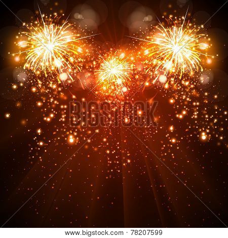 Happy New Year Celebration Background Fireworks, Easy All Editable