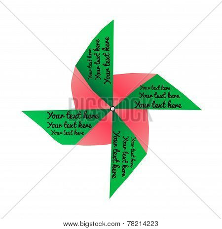 Bright Colored Pinwheel With Text Isolated On White Background. Vector
