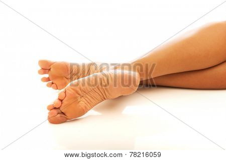 Close up on beautiful woman's feet.