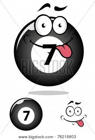 Billiard ball seven in cartoon format