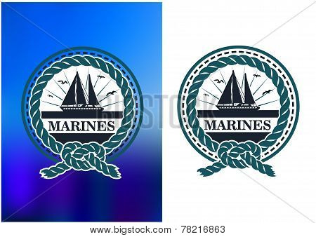 Marines circle emblem, logo in retro style