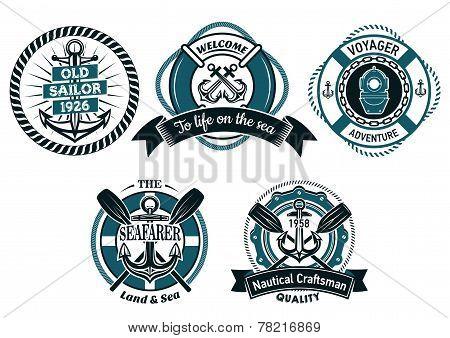 Seafarer and marine adventures emblems