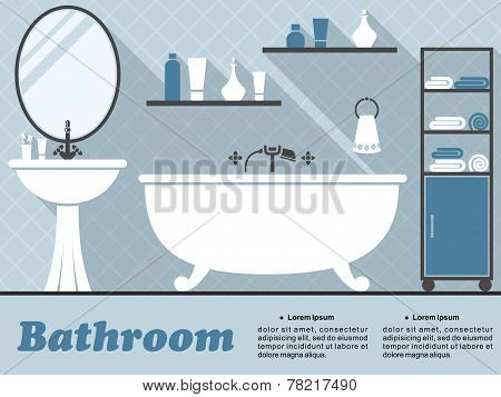 Blue bathroom interior infographic