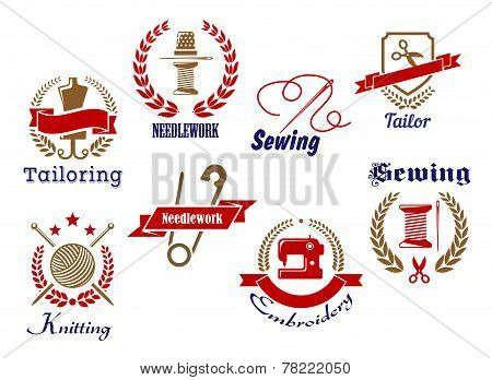 Retro icons set of needlework emblems, logo, badges with symbols for tailoring, sewing, knitting, needlework and embroidery isolated on white background poster