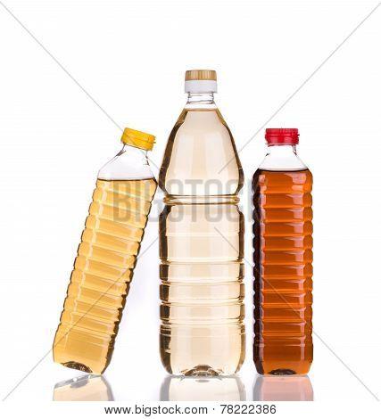 bottles of vinegar. Isolated on a white background. poster